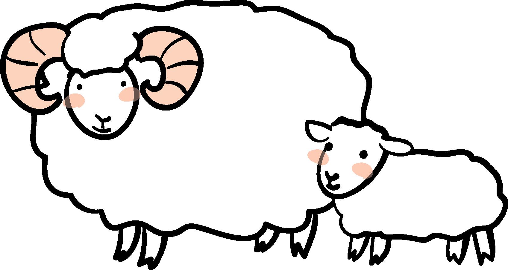 ... 羊の素材」羊の親子1
